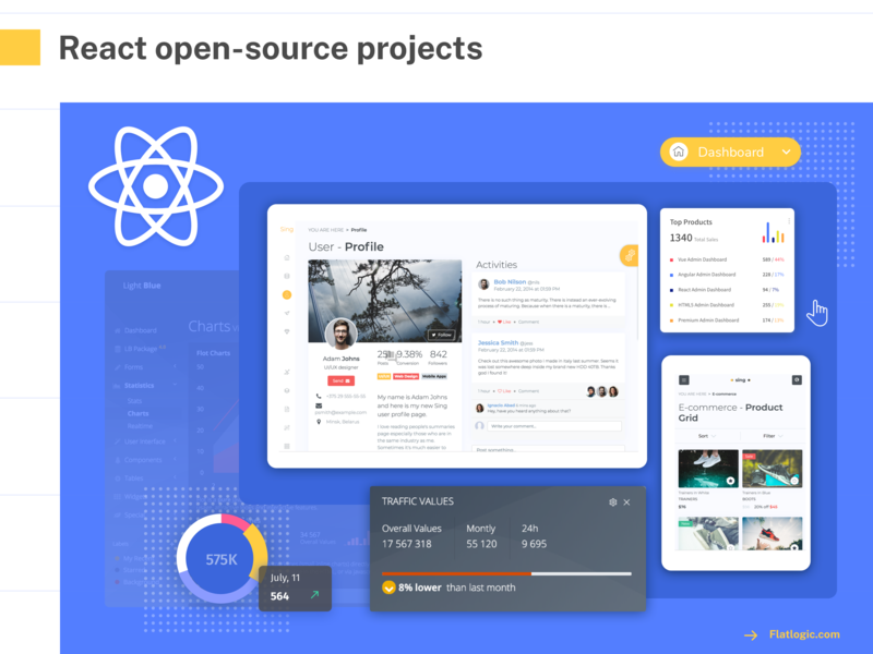 React open-source article open source profile charts dashboard ui dashboad react admin template mobile blog article ui illustration graphic design design