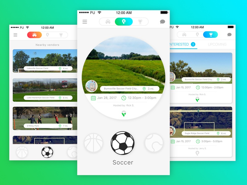 Pickr Uppr Main Screens colors gradient responsive ui nav mobile menu matchmaking layout interface sport app