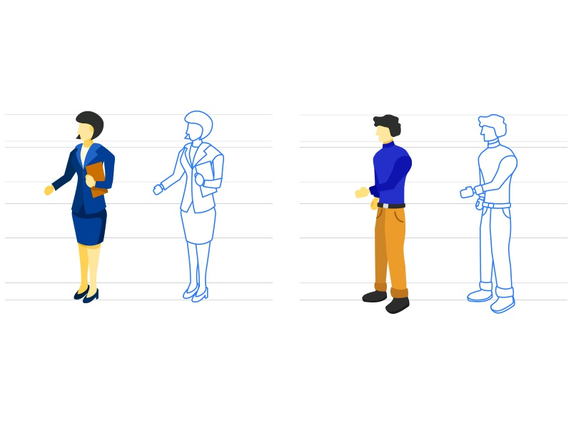 Vector People Illustrations - 2 woman vector sketches progress person people illustration drawing character business body agent