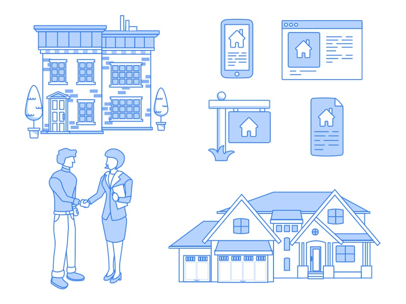 Line Icons - Real Estate  blue woman business house illustration vector icons person man people art line