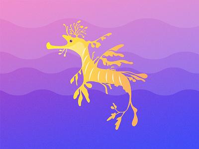 Gillustrations - Leafy Sea Dragon fish profile horse dragon sea leafy ocean illustration gradient gillustrations gillustration