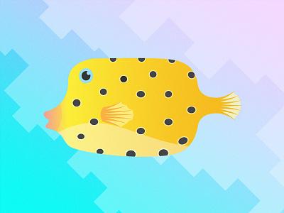 Gillustrations - Box Fish fish profile fins gills fish box silhouette sea ocean illustration gradient gillustrations gillustration