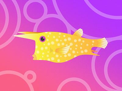 Gillustrations - Longhorn Cowfish bright colorful fish profile gillustration gillustrations gradient illustration ocean sea cowfish longhorn gills