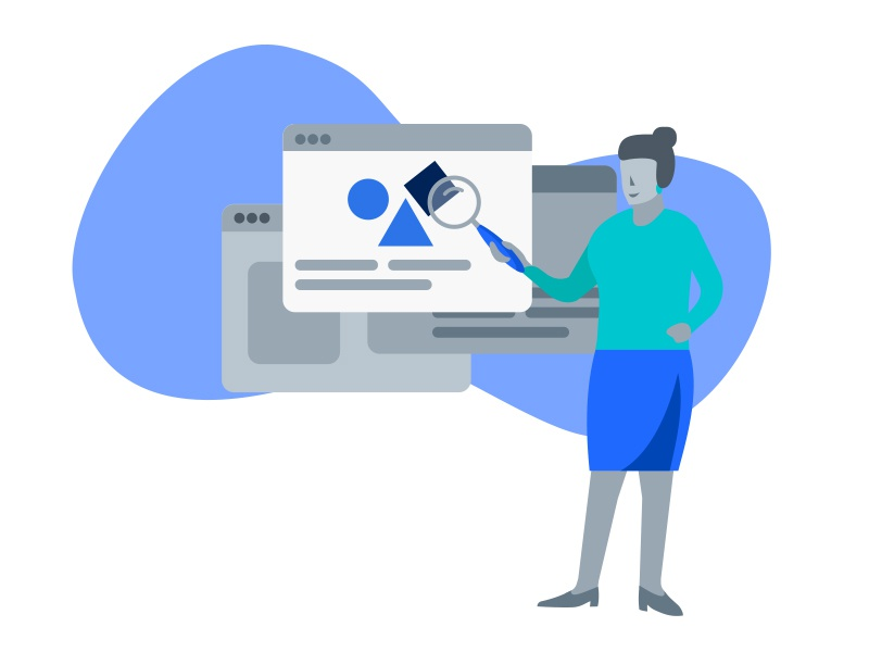 UX Design Process Illustration - Discovery material graphic teal blue search woman people web flat illustration process ux