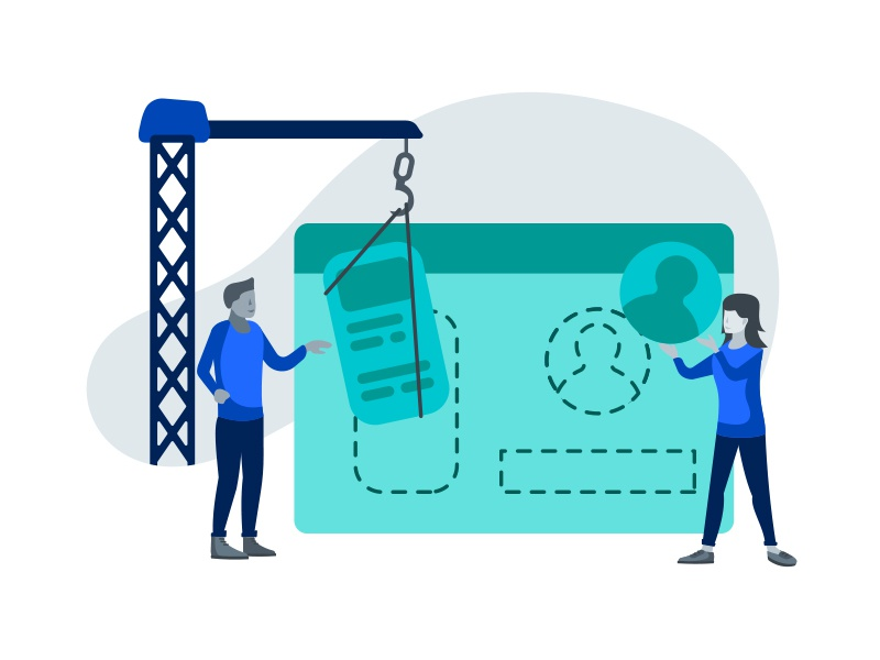 UX Design Process Illustration - Wireframe and Design wireframe design man woman graphic blue people web flat illustration process ux