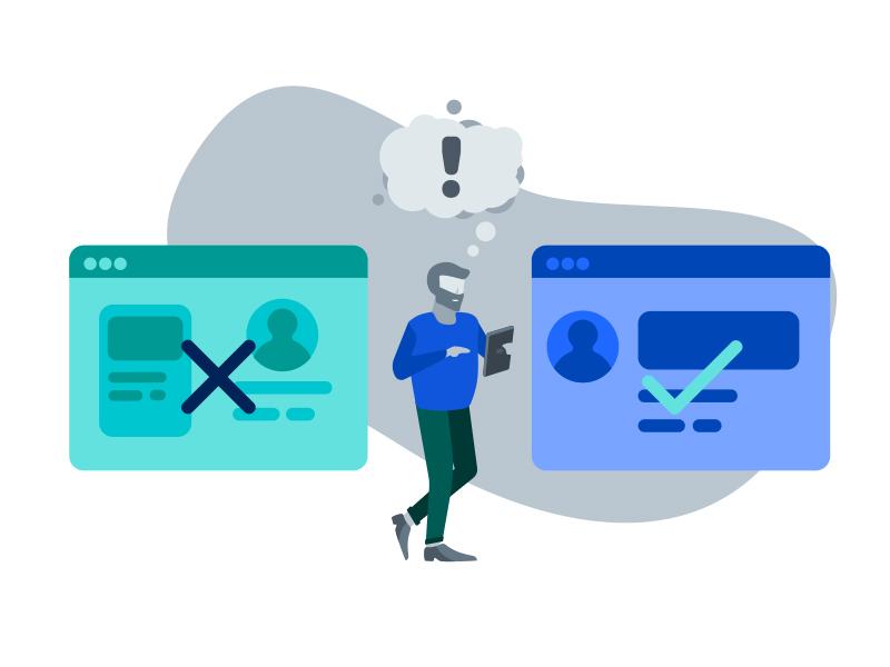 UX Design Process Illustration - Test and Validate wireframe design man test graphic blue people web flat illustration process ux