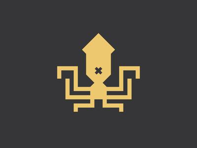 Ink Casket - Logo grid logo flat design flat logo design modern logo squid minimal logo design branding minimal logo geometric logo