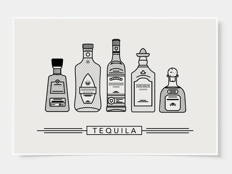 Tequila - Bar Poster minimal art prints bar posters wall posters minimal art ink casket tequila wall art print poster bottles alcohol illustration flat design minimalist cocktail black and white line illustration