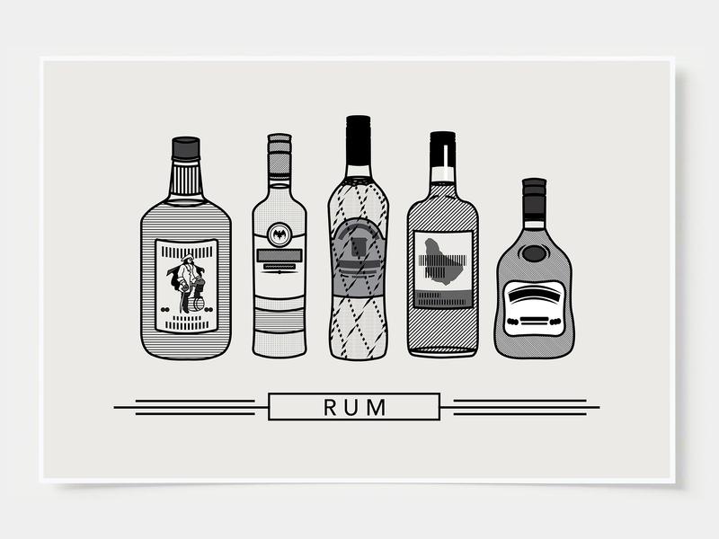 Rum - Bar Poster minimal art prints bar posters wall posters minimal art rum ink casket wall art print poster bottles alcohol illustration flat design minimalist cocktail black and white line illustration