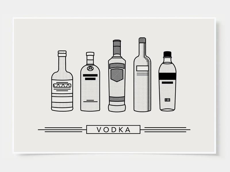 Vodka - Bar Poster minimal art prints bar posters wall posters minimal art vodka ink casket wall art print poster bottles alcohol illustration flat design minimalist cocktail black and white line illustration