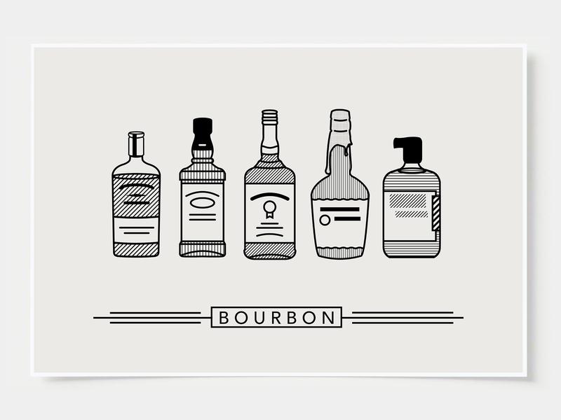 Bourbon - Bar Poster minimal art prints bar posters wall posters bourbon poster bourbon ink casket wall art print poster bottles alcohol illustration flat design cocktail black and white line illustration