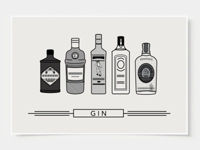 Gin - Bar Poster minimal art prints bar posters wall posters gin ink casket wall art print poster bottles alcohol illustration flat design minimal art cocktail black and white line illustration
