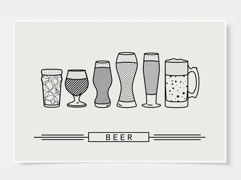 Craft Beer - Bar Poster minimal art prints bar posters wall posters brew beer craft beer ink casket wall art print poster bottles alcohol illustration flat design minimal art cocktail black and white line illustration