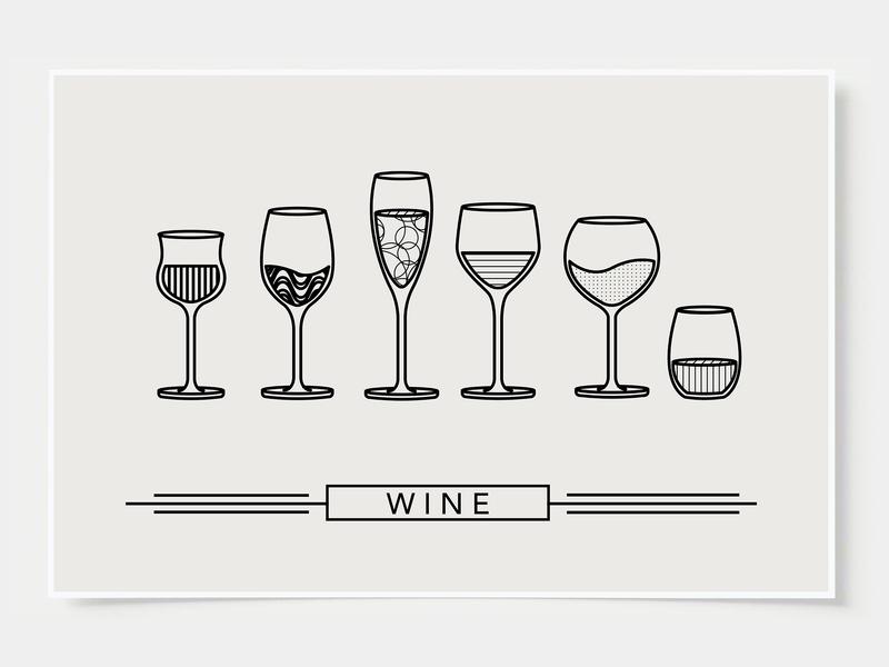 Wine Glass Designs - Poster minimal art prints bar posters wall posters wine cup wine glass wine ink casket wall art print poster bottles alcohol illustration flat design minimal art cocktail black and white line illustration