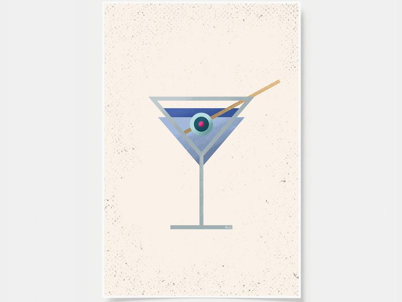 Martini - Cocktail Poster minimal art prints bar posters wall posters martini classic martini cocktail art cocktails ink casket wall art print poster bottles alcohol illustration flat design minimal art cocktail black and white line illustration