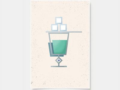 Absinthe - Cocktail Poster minimal art prints bar posters wall posters sugar sugar cube absinthe cocktail art cocktails ink casket wall art print poster bottles alcohol illustration flat design minimal art cocktail black and white line illustration