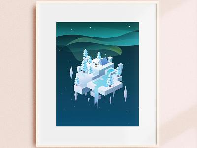 Cold Aurora - Isometric Design winter gradient isometric art geometric minimal forest aurora nature illustration graphic design