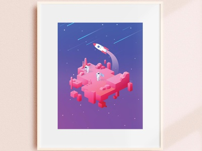 Void Mars outerspace stars geometric galaxy rocket floating island astronaut space isometric art isometric