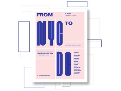 From NYC to DC pink grid type typography
