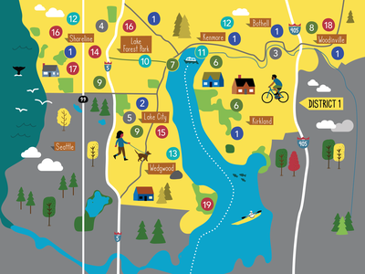 King County Map illustration map digital vector editorial phillustrations illustration