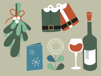 Mid century modern Christmas icons