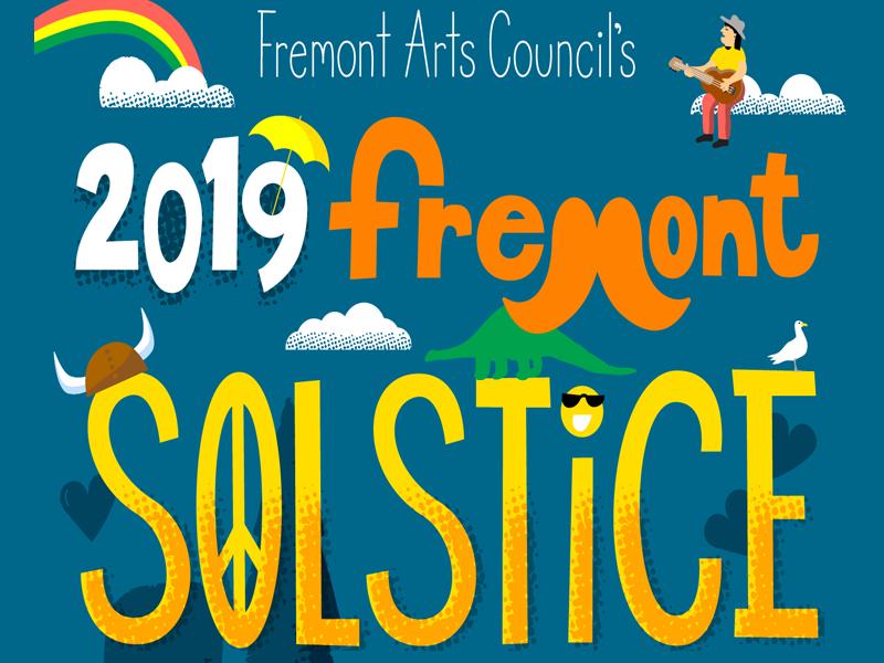 Fremont Solstice Parade poster design poster rainbow cartoon phillustrations handlettering texture illustration vector lettering solstice parade fremont
