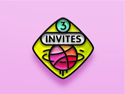 3 Dribbble Invitations enamel pin invite dribbble invite invites invitations 3