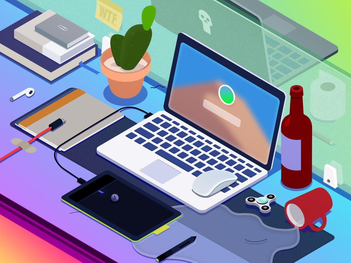👨💻 Only design makes me happy laptop computer mouse illustration 轴侧 2.5d