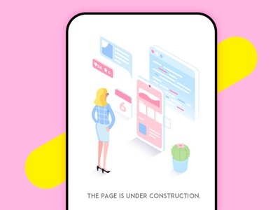 The page is under construction under construction ui 2.5d illustration