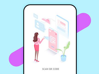 Scan QR code scan qr code 2.5d illustration