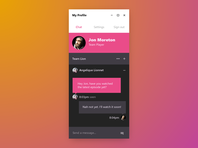 Hello Dribbble mobile chat debut neon windows10