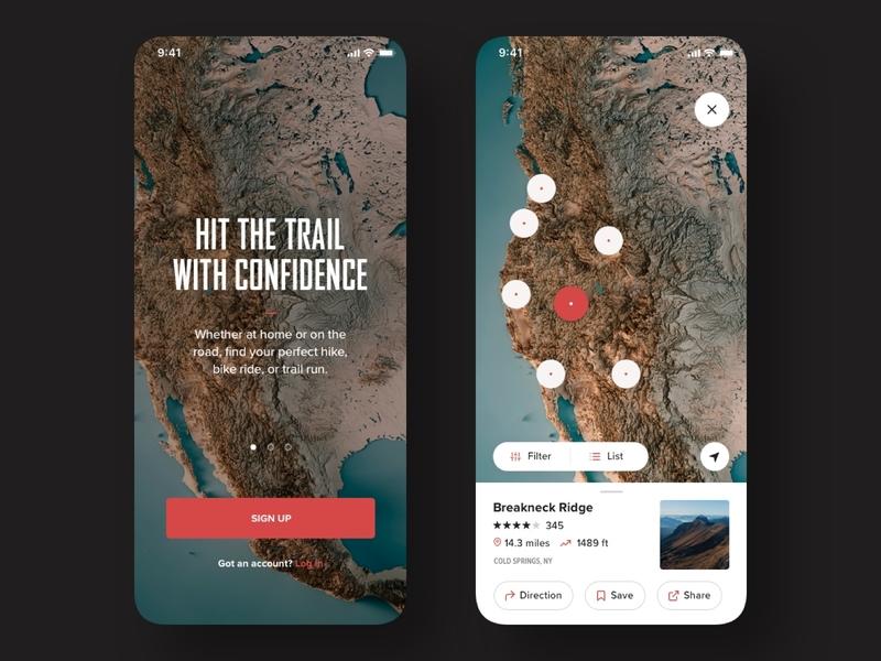 Trail/Treking App sketchapp clean ui white onboarding map ios ui ux app design app