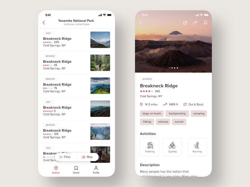 Trail/Treking App webdesign list map iphone clean ios design ux ui