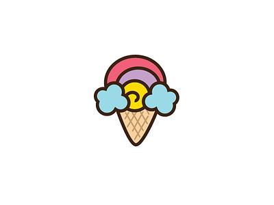 rainbow t dessert logo ice cream joy happy colorful branding logo sweet dessert rainbow