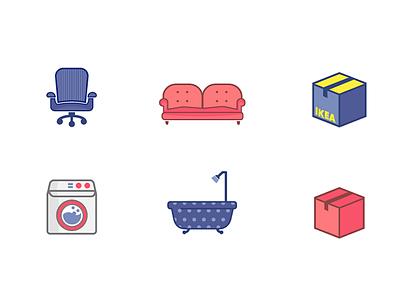 Need help on moving? cute illustration moving tub bath washing ikea office chair sofa box furniture