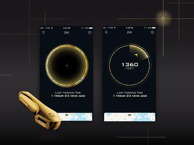 Gold ZUS (UI concept)  app mobile concept gps location smart hardware map iot gold compass ui uichallenge