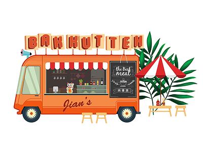 Bakuteh Truck  malaysia restaurant menu stand cute illustration bakkutteh food truck
