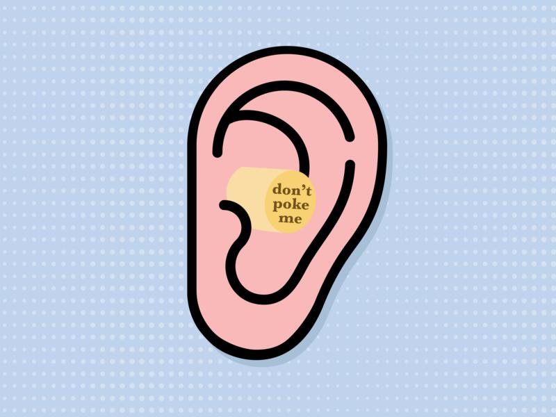 Don't Poke Me instagram illustration branding pastel poke earplug ear