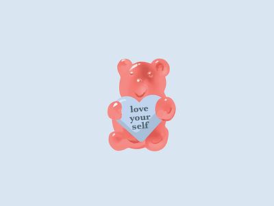 Gummy Bear dribbbleweeklywarmup illustraion awww branding digital native valentines cute love yourself gummy bear gummies gummy