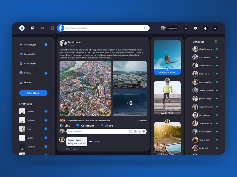 Facebook Redesign facebook redesign figma design ux ui