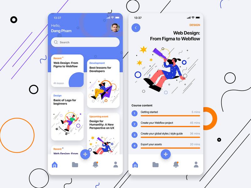 Learning App learning app figma app design ux ui
