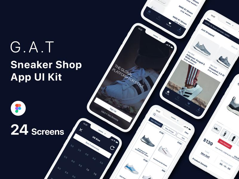 G.A.T - Sneaker Shop App UI Kit ui kit shop sneaker figma app design ux ui