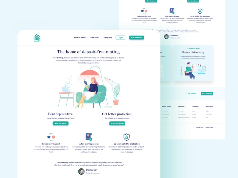 Bankey - Landing Page web design webdesign minimal layout landing interface creative clean home rent landing page figma design ux ui