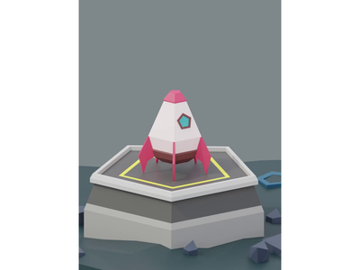 Low Poly Rocket lowpoly rocket launch launchpad rocket low poly blender 3d animation 3d