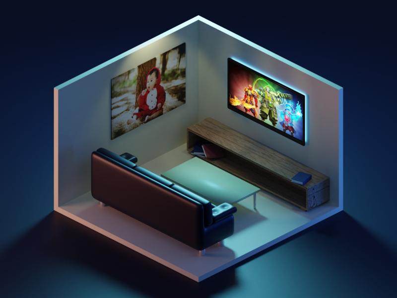 3D Living Room diorama isometric low poly sci-fi model room render illustration design blender 3d