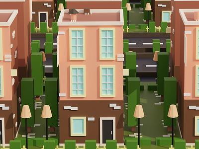 3D Building low poly 3d modeling street blender diorama isometric art building 3d blender 3d