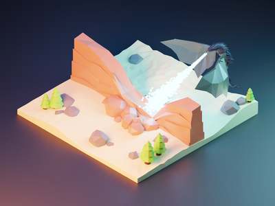 Dragon Melting The Wall design john snow snow tree rock diorama low poly modeling 3d blender game of thrones melting
