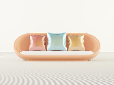 3D Sofa materials modeling blender 3d