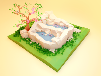 Session of Spring Low Poly lake blossom spring isometric blender 3d low poly illustration