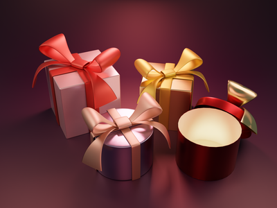 Xmas gift wrap blender 3d present christmas holiday